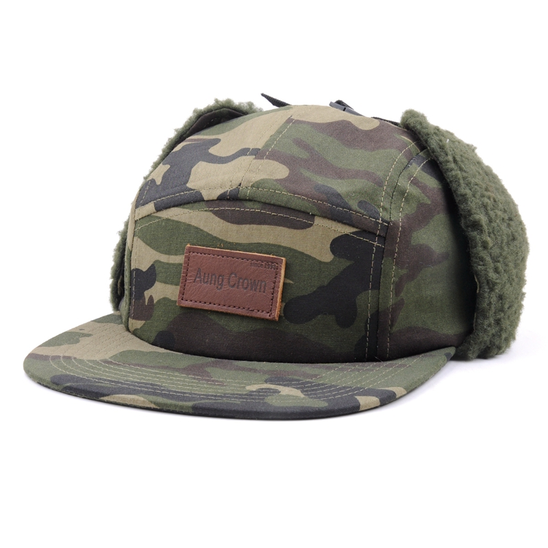 Winter camper 5 panel cap, 5 panel earflap hut mütze, camo 5 panel hut earflap