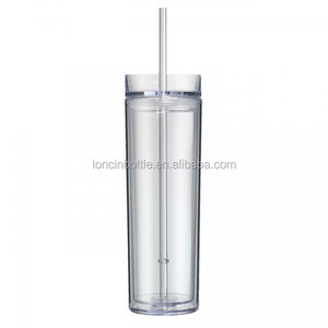 16oz Double Wall Clear Plastic Insulated Skinny Acrylic Tumbler With Straw