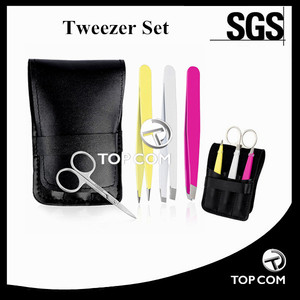 Stainless Steel Tweezers - Scissors Set With Case , Eyelash Extension Kit For Nose Hair and Ingrown, Splinters & More