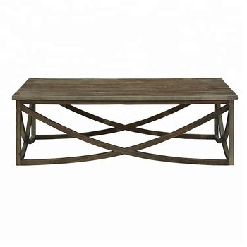 Antique House European Country Natural Recycled Elm Solid Wood Vintage Square Coffee Table