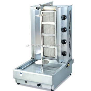 Stainless Steel four gas burners Kebab Maker with 4 gas burners Gas Safety