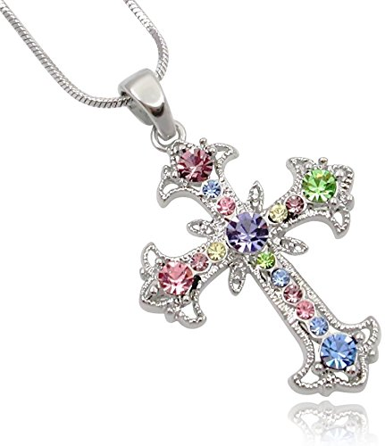 Cross Necklace for Teens, Girls, Women Silver Tone Crystal Cross Pendant and Chain Religious Christian Jewelry Gifts