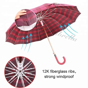 RST J shaped curved handle alloy straight 12ribs big size 25 inch steel strong windproof commercial umbrella automatic