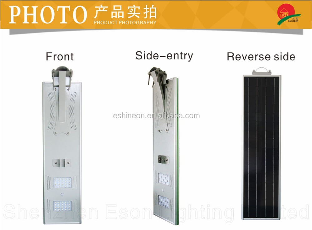 Integrated solar panel/battery/controller/led light wind and solarl energy street lamp