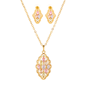 Ladies fashion design party hollowed-out crystal cubic zircon pendant earring set