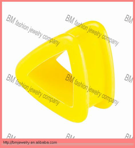 triangle shaped yellow silicone custom ear gauge plugs ear tunnels piercing body jewelry