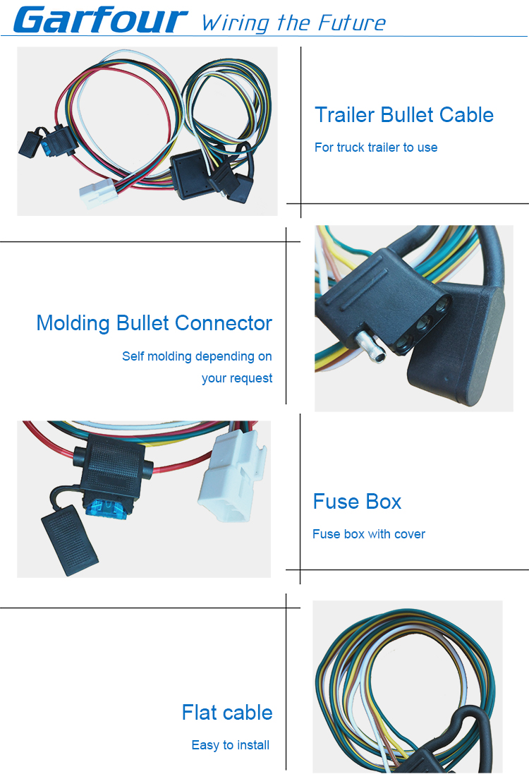 Molding Bullet Plug Trailer Truck Electrical Cable With Fuse Box Xj