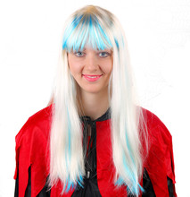 cosplay bright white blue party city hair wig