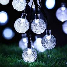 СВЕТОДИОДНЫЕ гирлянды на солнечной батарее, гирлянда для улицы, 30/50 LED шар, полые рождественские деревья, декор для сада, вечеринки, гирлянда,...(Китай)