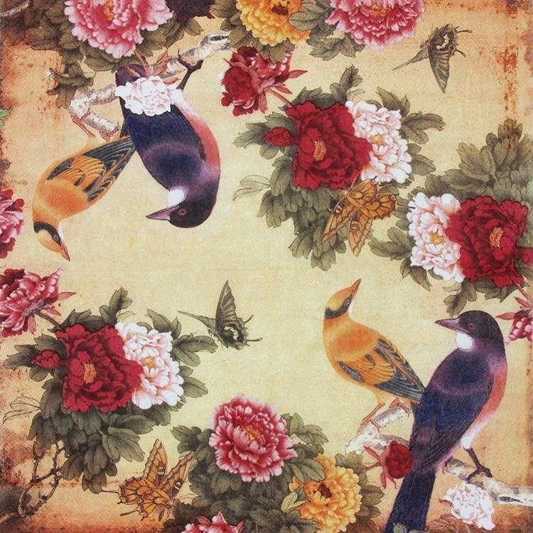 Printing Peony Birds Decorative Decoupage Napkin