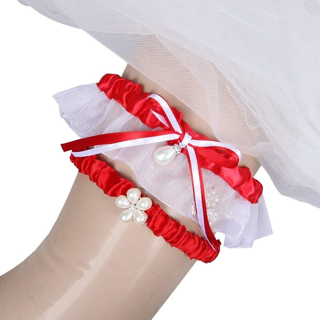 7aa9cbebb00 Get Quotations · MerryJuly Bridal Garter set Wedding Garters Red Prom Garter  2017