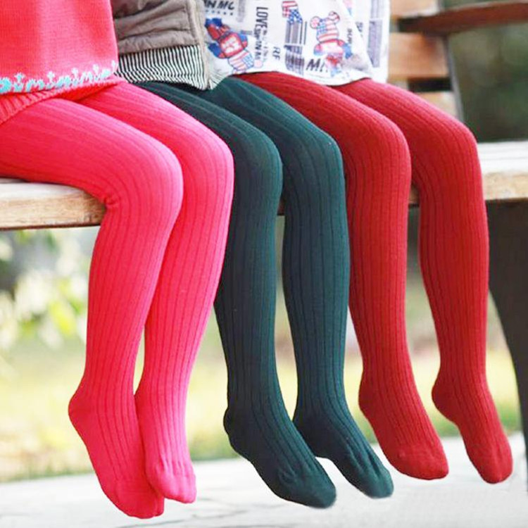 Retail 2 7years tights stockings candy color thickened children Kids infant Baby Combed Cotton spring autumn