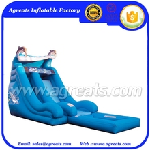 Blue dolphin inflatable water slide with pool inflatable slide bouncer on sale G4036
