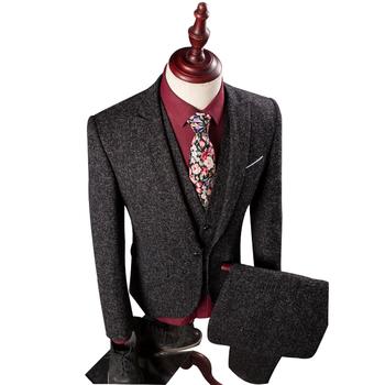 Wb161 (blazer+pants+vest) Tweed Mens Suits Wedding Groom Skinny ...