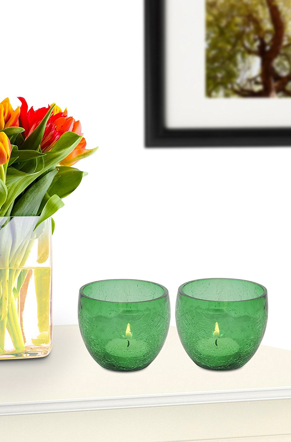 Pair Of Candle Holder / Tea Light Holder / Table Top Candle Holder /Cut Glass Candle Holder For Office Home Crack Glass Design 3X3X3 Inch
