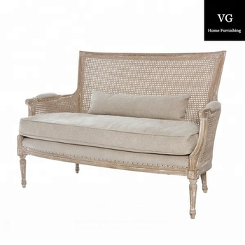 French Style Wooden Frame Love Seat