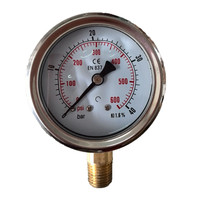 "HF High quality stainless steel 4"" 100mm 16bar oil filled pressure gauge"