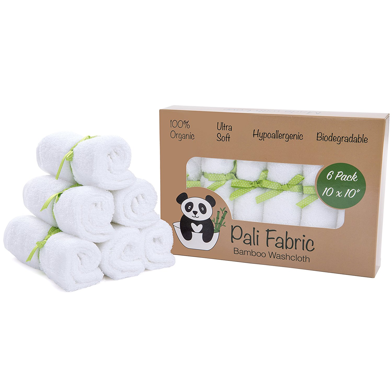 Organic Bamboo Washcloths By Pali Fabric | 100% Organic All-Natural Washcloth | Anti-bacterial and Hypoallergenic for Sensitive Skin | Ultra Soft and Durable Baby Bath Towels | 10x10 Inch (6 Pack)