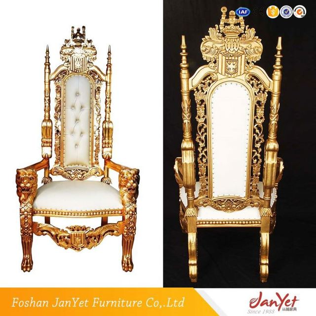 Simple Design Antique King Queen Throne Chair Set