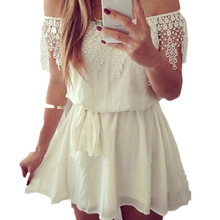 Top Quality 2015 Summer Brand New Fashion Sleeveless Slash Neck Chiffon Dress Women Lace Off the Shoulder Mini Dresses S M L