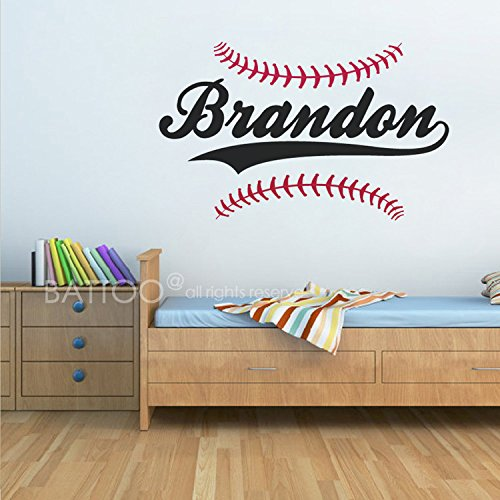 BATTOO Personalized Baseball Name Wall Decal - Boys Name Wall Decal - Sports Wall Decal - Boys Room Decor - Teen Name Vinyl Wall Decal