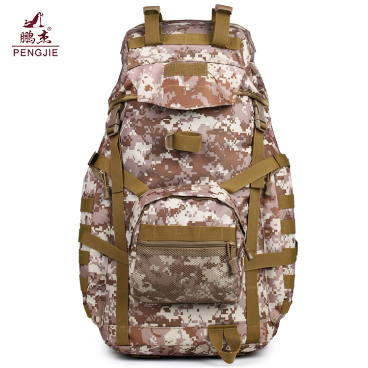 Factory price 50L hiking Camo thick canvas large military backpack