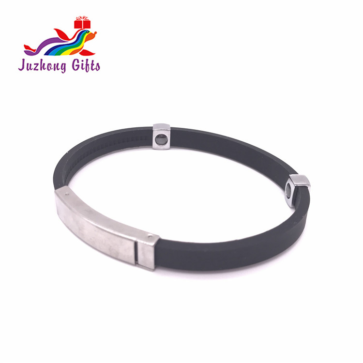 Promotional Bulk Cheap Silicone Metal wristbands Woman silicone bracelet with Metal