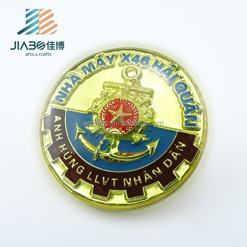 metal gold epoxy coating with soft enamel Vietnam lapel pin custom