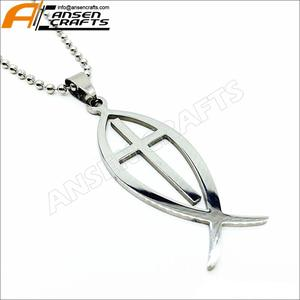 silver Jesus Christ Fish Top Stainless Steel Pendant Bead chain Necklaces brand new for men women