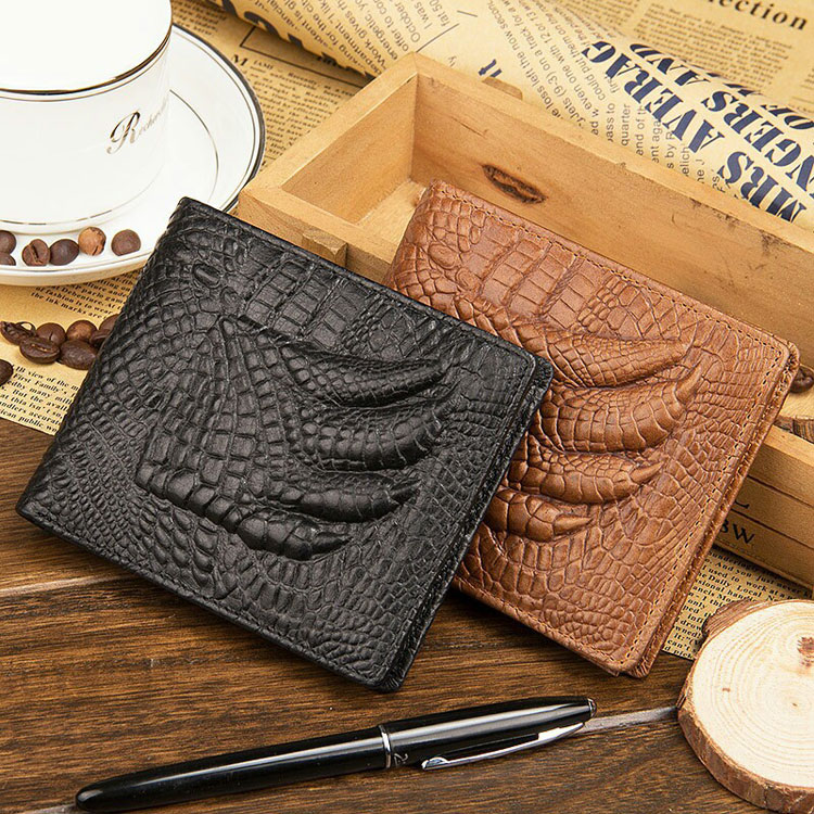 Alibaba Hot Selling New branded wallets money crocodile skin genuine cowhide leather men's wallet factory