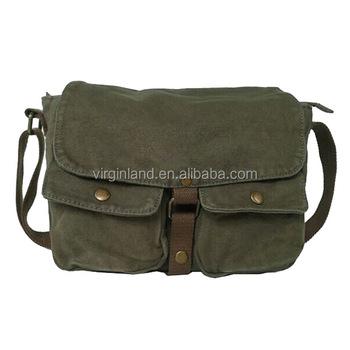 fa43b7b43e verde militare degli uomini di tela vintage in pelle scuola militare borsa  tracolla messenger 2371