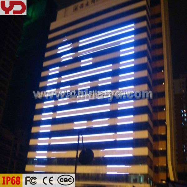 outdoor wall lamps glass curtain wall LED lighting decoration with vivid animation function display