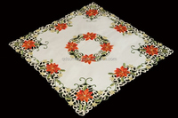 red candle christmas tablecloth and runners with embroidery and cutwork