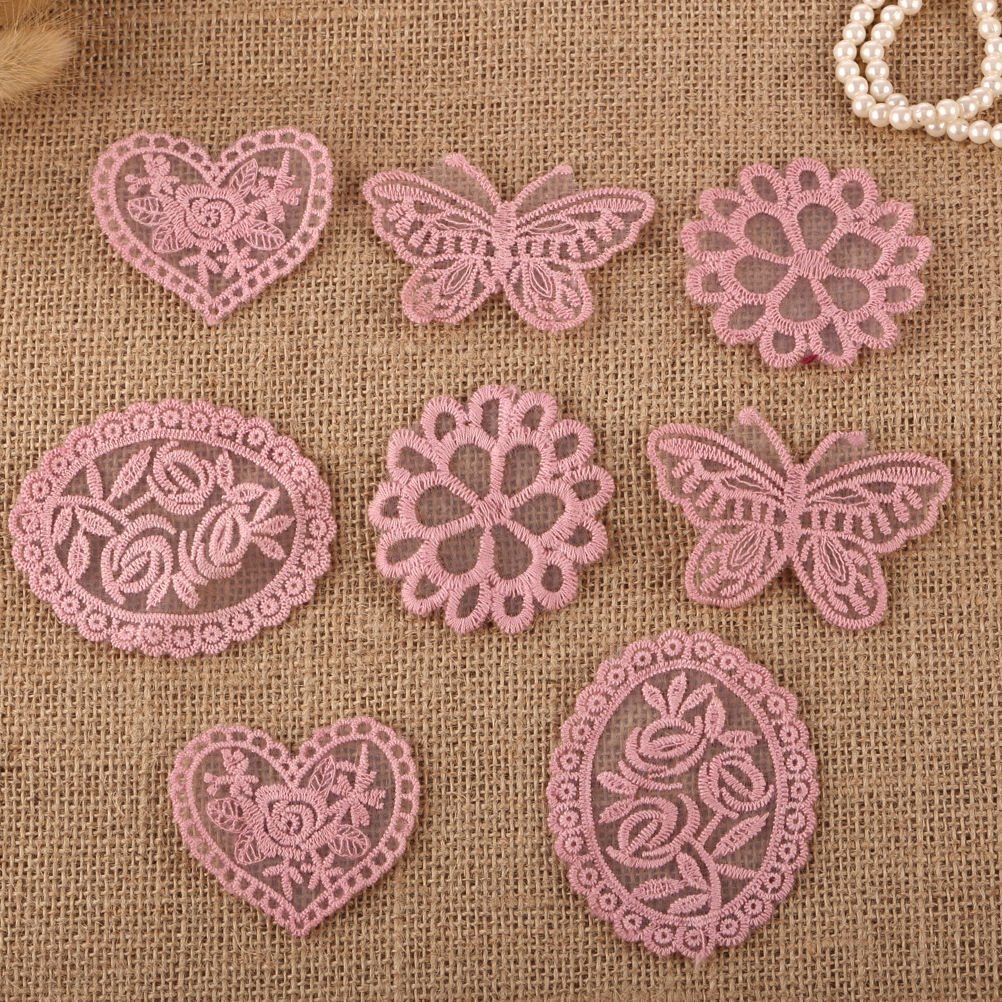 CraftbuddyUS 8 x Vintage Mixed Pink Lace Motifs Patches Sewing Sew on Stick on Crochet
