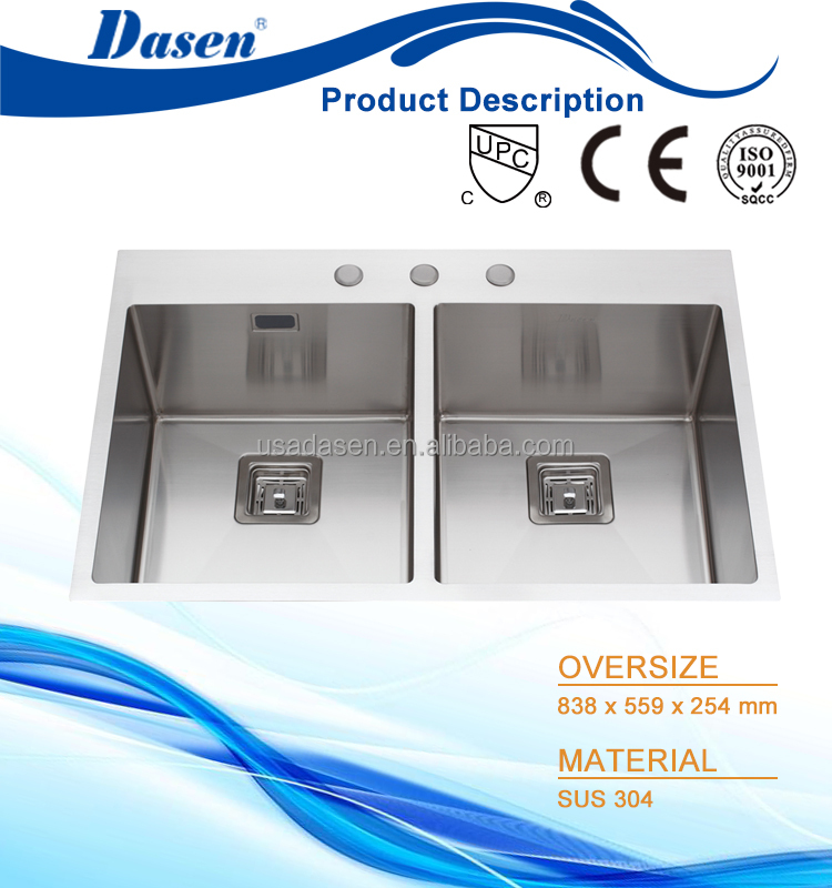 Twin bowl under mount installation 50/50 residential kitchen sink 33 x 22 inch with bottom gird
