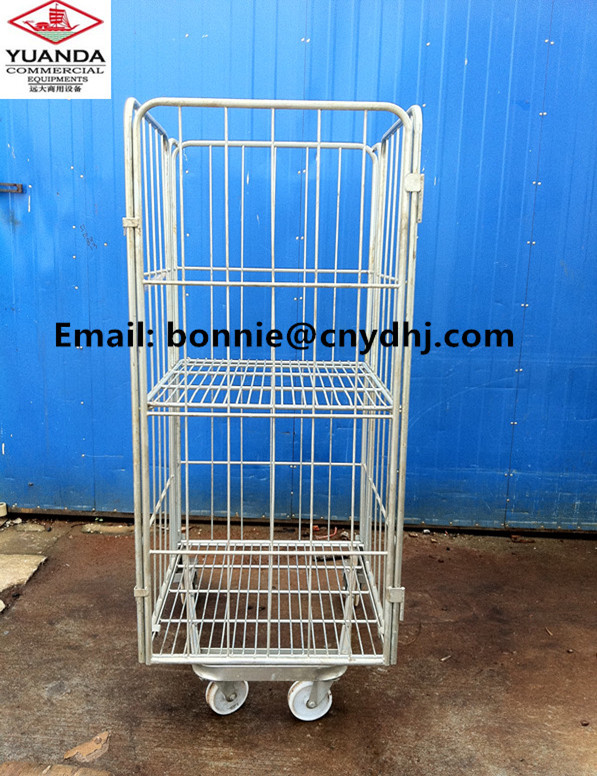 3 Side new style factory supplied steel metal roll caster cage pallet/ wire cage/ rolling cage
