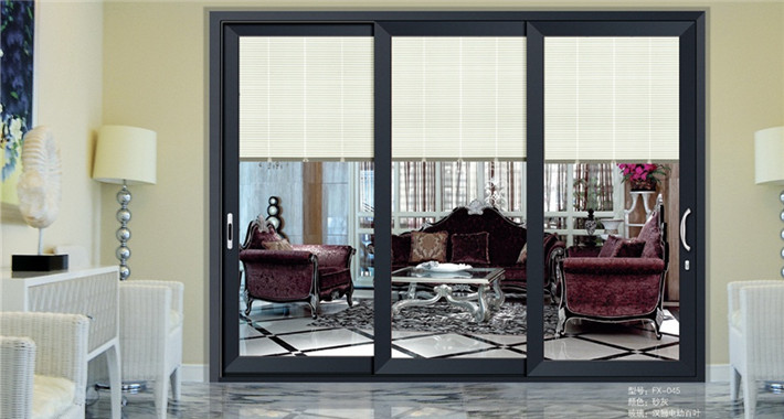 Dimension Customized Kitchen Aluminum Glass With Inside Blinds Sliding Door
