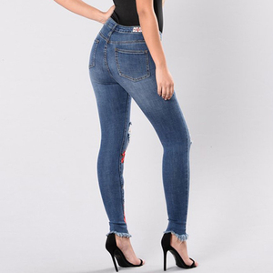 Stylish Pattern Embroidery High waist Jean Pants Plus Size Sexy New Model Jeans