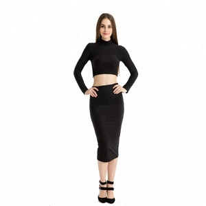Women Crop Top Midi Skirt Outfit Two Piece Bodycon Dress Set