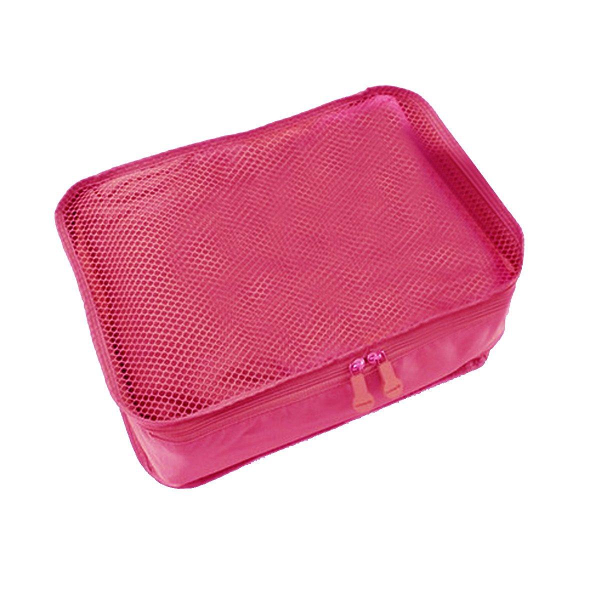DEHANG Waterproof Nylon Ventilated Foldable Durable Portable Organiser Storage Bag for Travel - Rosy