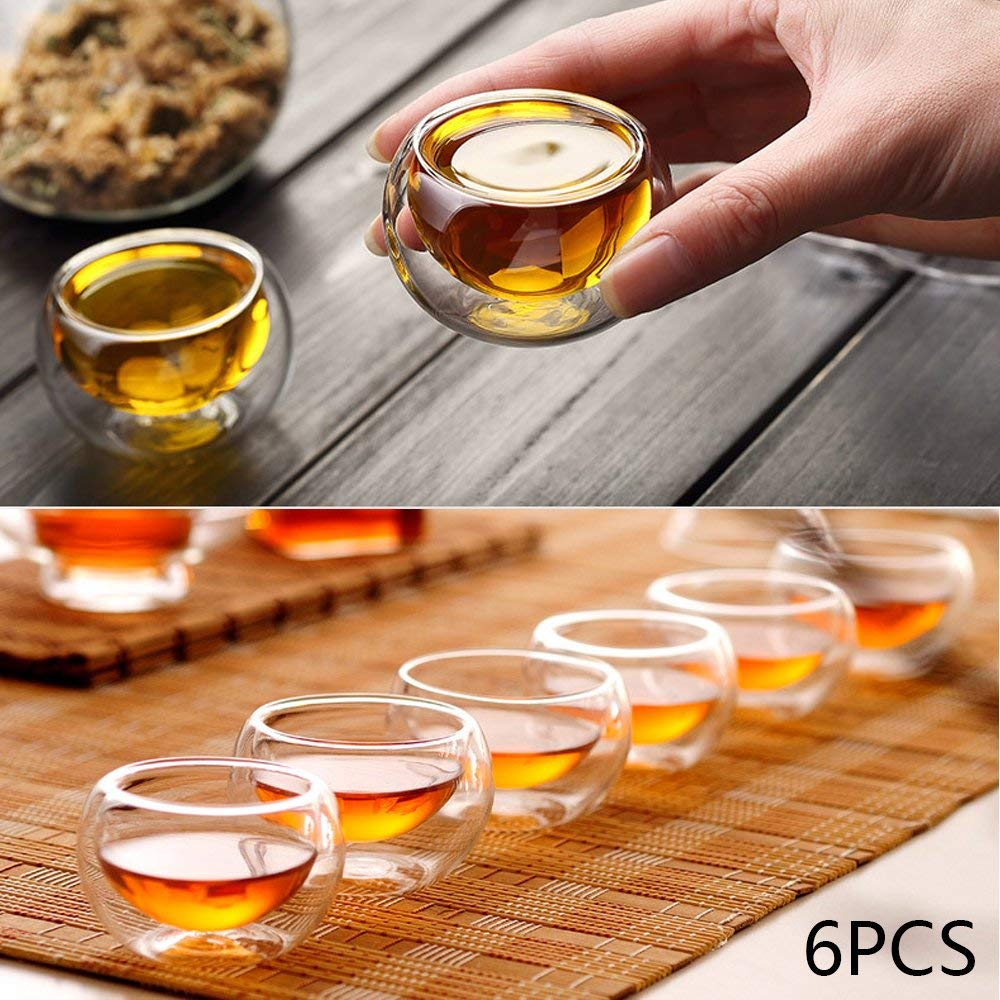 6PCS 50ml Double Wall Glass Espresso Tea Cups Borosilicate Extra Thick Glasses Set of 6 Best Paired with your Teapot or Coffee Modern Style