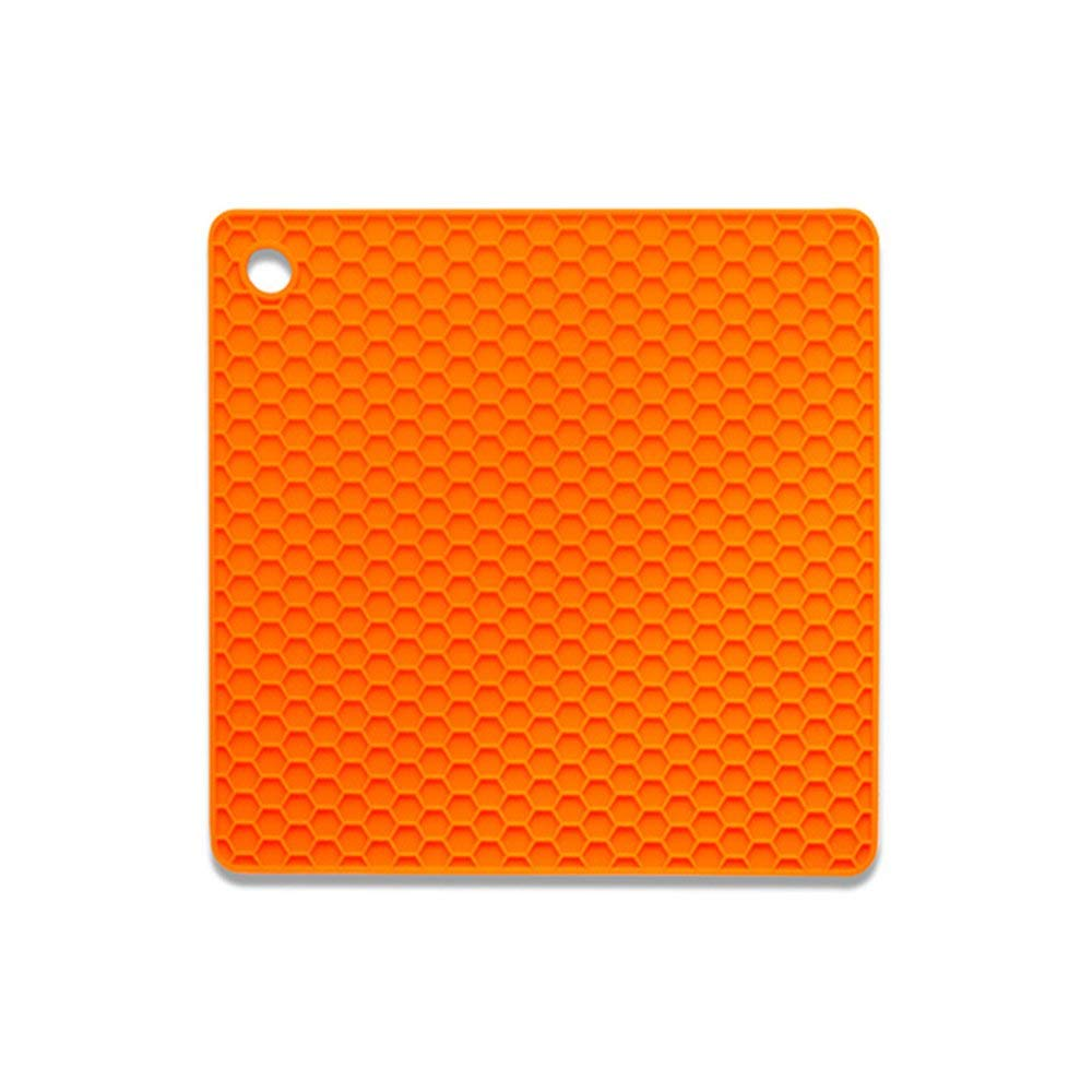 HOBOYER Silicone Table Mats Soft Non-Slip Honeycomb Grid Waterproof Heat Resistant Liner Oven Pad for Kids Foods Mats Free FDA[7272inch] (Orange)