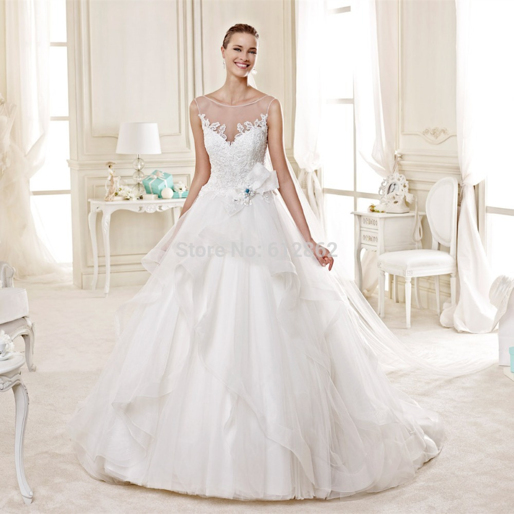 2015 Sleeveless Ball Gown Lace Wedding Dresses With Blue ...