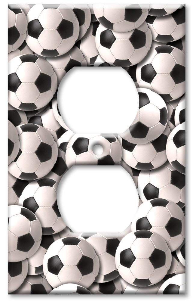 Art Plates - Outlet Cover OVERSIZE Switch Plate/OVER SIZE Wall Plate - Sports: Soccer Balls