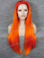 Wholesale Cheap Top Grade Quality Synthetic Hair Lace Front Wigs Orange Long 30inch Straight Drag Queen Wig