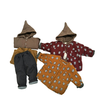 lovely hooded thick warm children clothing set  kid wear winter printed boys clothing set