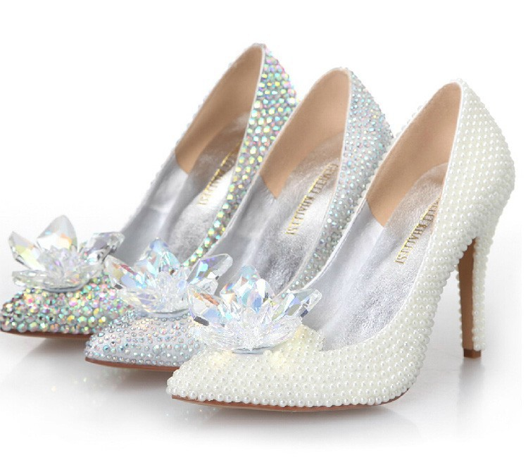 2015 Cinderella Crystal Shoes High Heeled Women Stunning Glasses Slipper Bling Silver Rhinestone Bridal Wedding Shoes Prom Pumps