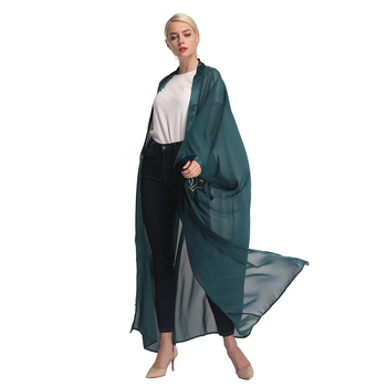 Chiffon New Fashion Elegant Dark Green Mesh Chunky Cardigan 2019 Islamic Clothing