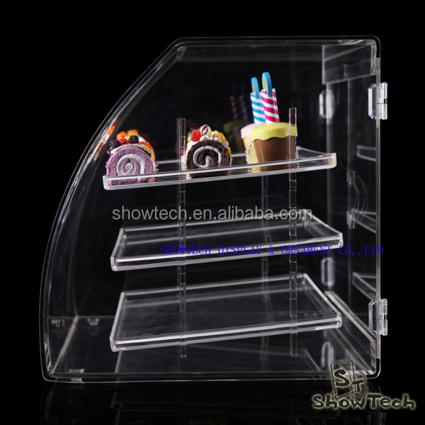 New Style China Cheap supplier fancy Clear acrylic desktop 3 tiers food display cases ST-LBTL1814