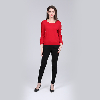 Women pullover knitwear sweater with falbala sleeve